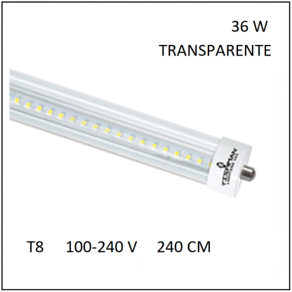 Tubo LED T8 36W 240cm Transparente