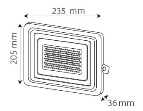 Medidas Reflector 50W Gris