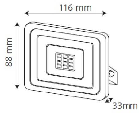 Medidas Reflector 10W Gris