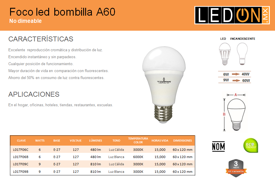 Foco LED Bombilla