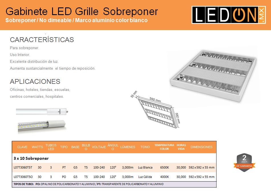 Gabinete LED Grille T5 Sobreponer