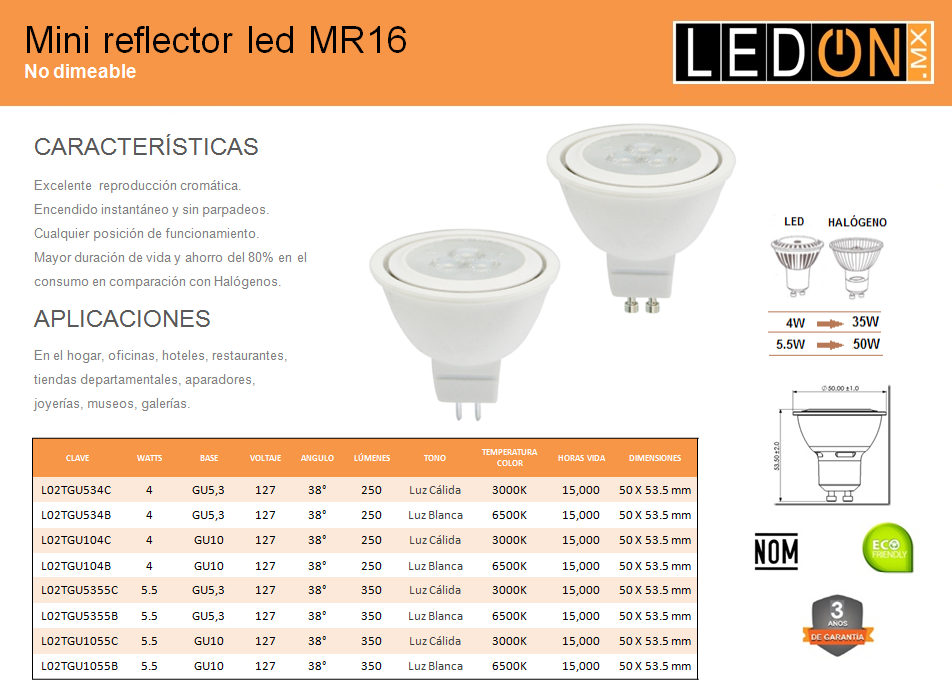 Focos LED Mini Reflecctor MR16