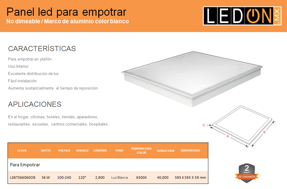 Panel LED 60x60 Empotrar en Plafón