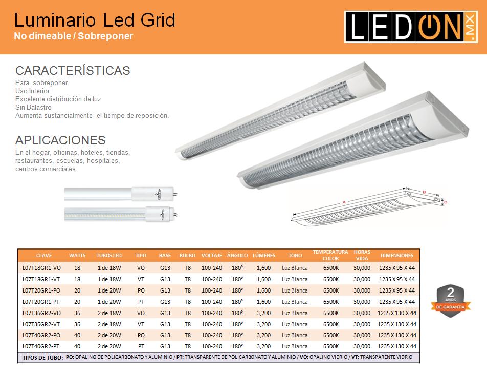 Gabinete LED GRID con tubos T8