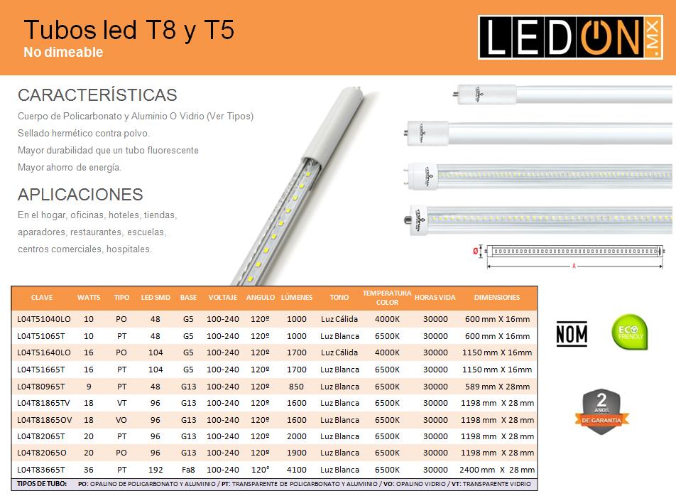 Tubos led T8 y T5