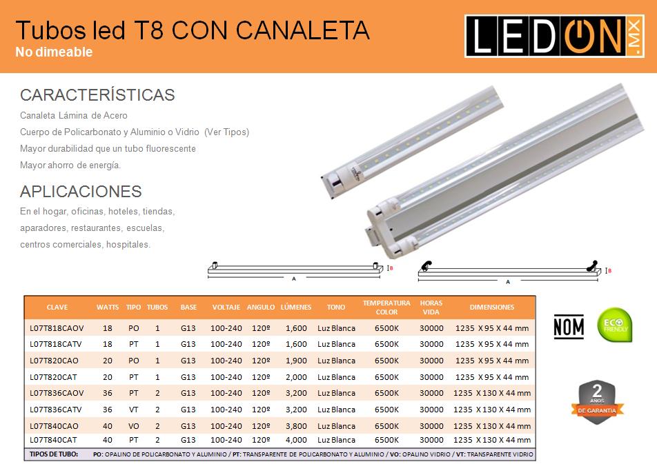 Tubos LED T8 con canaleta
