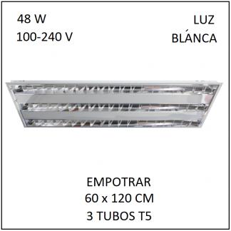 Gabinete Grille 60x120 para Empotrar 3 tubos T5 Luz Blanca