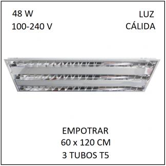 Gabinete Grille 60x120 para Empotrar 3 tubos T5 Luz Cálida