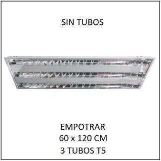 Gabinete Grille 60x120 para Empotrar 3 tubos T5 SIN TUBOS