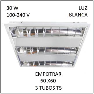Gabinete Grille 60x60 para Empotrar 3 tubos T5 Luz Blanca