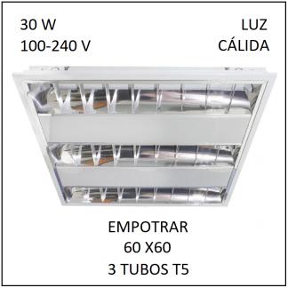 Gabinete Grille 60x60 para Empotrar 3 tubos T5 Luz Cálida