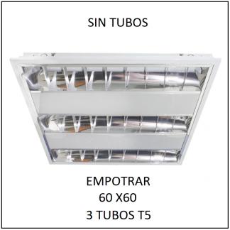 Gabinete Grille 60x60 para Empotrar 3 tubos T5 SIN TUBOS