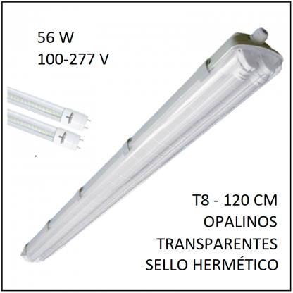 Gabinete IP65 56W con sello hermético para dos tubos T8