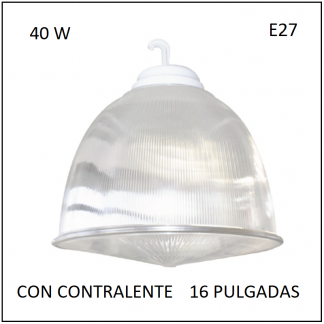 Campana Acrílico con Contralente 16 Pulgadas con Lámpara alto poder 40W