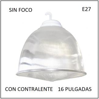 Campana Acrílico con Contralente 16 Pulgadas para Lámpara E27