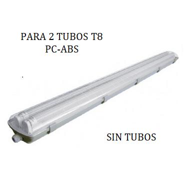 LUMINARIO EXTERIOR IP65 PCABS PARA 2 TUBOS T8
