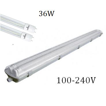 Lámpara Gabinete IP65 PCABS 36W 2 Tubos Led 100-240V