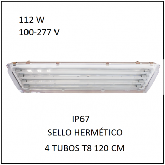 Gabinete IP67 con 4 Tubos 112 W Sello Hermético