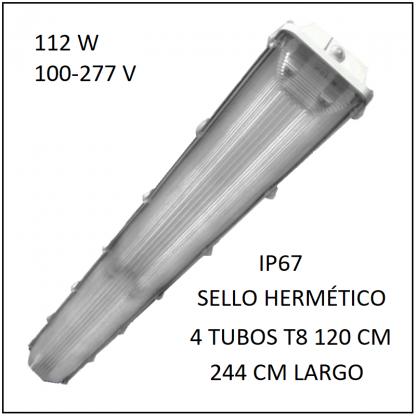 Gabinete LED 112W 244 cm IP67 para 4 Tubos T8 de 120 cm sello hermético