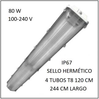 Gabinete LED 80W 244 cm IP67 para 4 Tubos T8 de 120 cm sello hermético