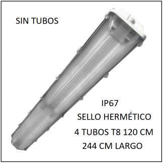 Gabinete LED 244 cm IP67 para 4 Tubos T8 de 120 cm sello hermético SIN TUBOS