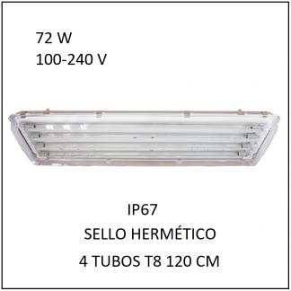 Gabinete IP67 con 4 Tubos 72 W Sello Hermético