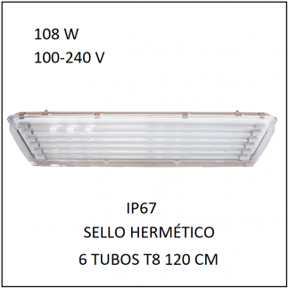Gabinete IP67 108 con 6 Tubos 80 W Sello Hermético