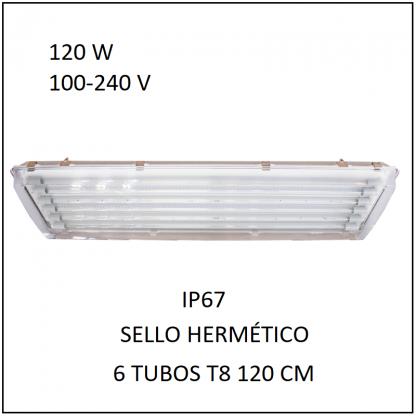 Gabinete IP67 120 con 6 Tubos 80 W Sello Hermético