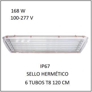 Gabinete IP67 168 con 6 Tubos 80 W Sello Hermético