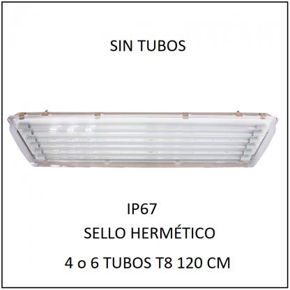 Gabinete Industrial IP67 con sello hermético para 4 o 6 tubos LED T8