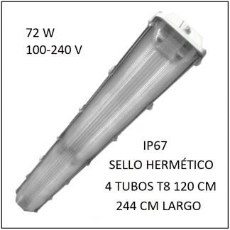 Gabinete LED 72W 244 cm IP67 para 4 Tubos T8 de 120 cm sello hermético