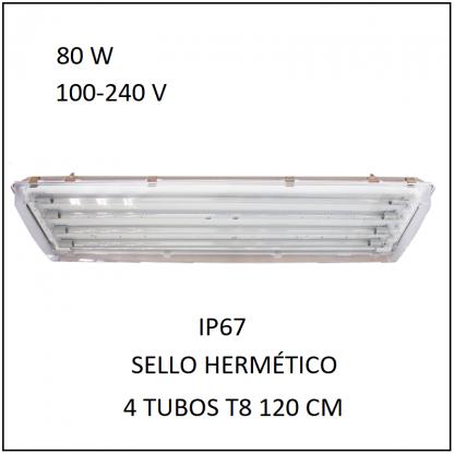 Gabinete IP67 con 4 Tubos 80 W Sello Hermético