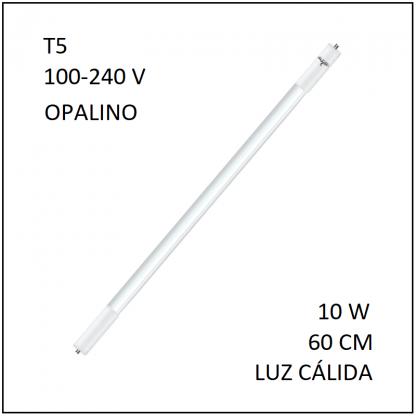 Tubo LED T5 10W 60cm Opalino Luz Calida