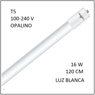 Tubo LED T5 16W 120cm Opalino Luz Blanca