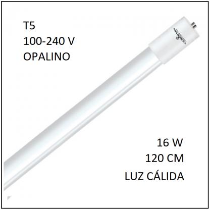 Tubo LED T5 16W 120cm Opalino Luz Cálida