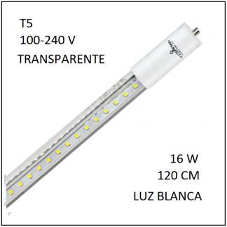 Tubo LED T5 16W 120cm Transparente Luz Blanca